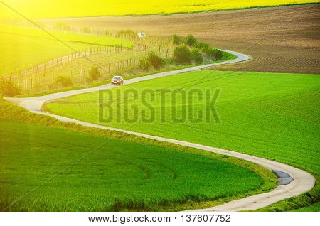 Rural sunny landscape with green fields, road and waves, South Moravia, Czech Republic