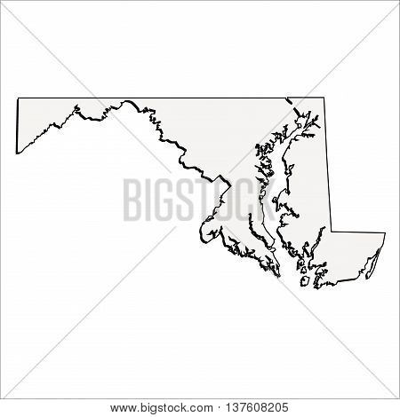 Vector Maryland State USA 3D Outline Map