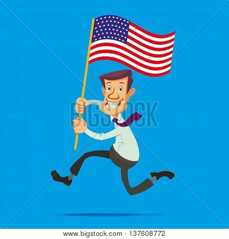 Happy smiling man with the American flag running towards the dream