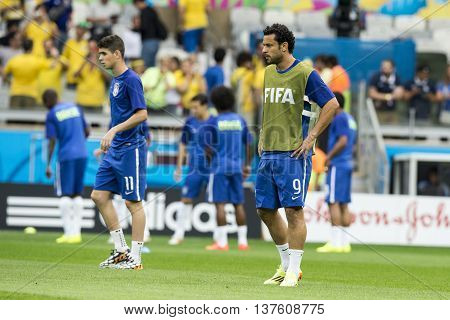Belo Horizonte Brazil - july 08 2014: Fred player during the FIFA 2014 World Cup. Brazil is facing Germany in the semi-finals at Mineirao Stadium