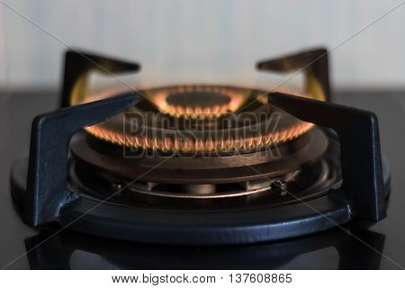 Gas Stove Burners In The Kitchen