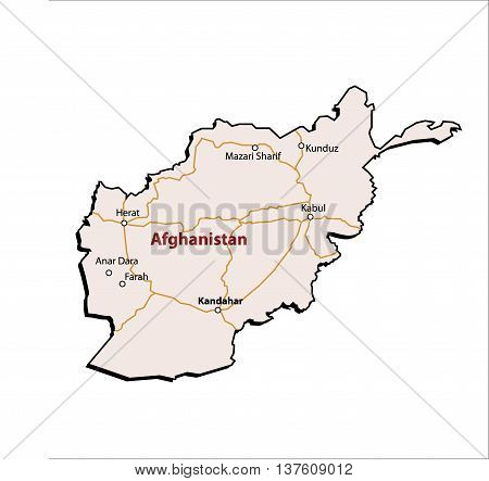 Vector Afghanistan Outline with Major Roads & Cities