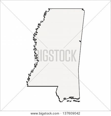 Vector Mississippi State 3D Outline Map Mercator