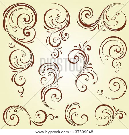Ornate brown swirl motifs. Elements can be ungrouped for editing.