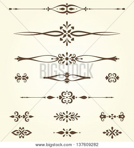 Ornate swirl dividers and arabesques. Use for vintage wedding invitations, royal certificates, greeting cards, menus, covers, posters, brochures and flyers.