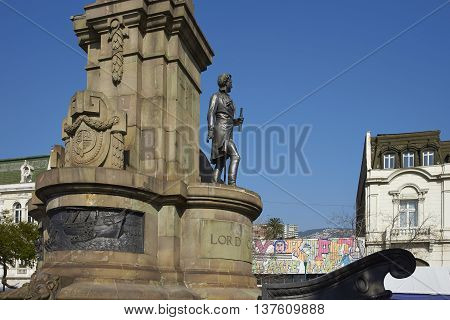 VALPARAISO, CHILE - JULY 5, 2016: Monument to Lord Cochrane, was an Admiral in the British Royal Navy before becoming head of the Chilean Navy during Chile's war of independence against Spain.