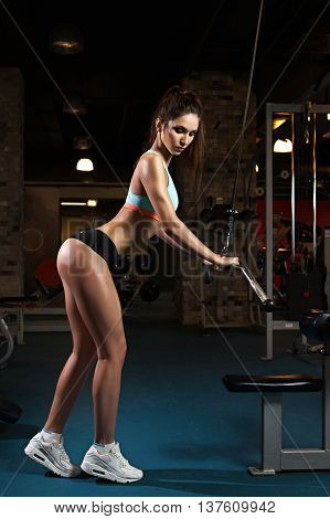 Woman weight training at gym. Exercising on pull down weight machine. Girl doing pull-ups exercising lifting dumbbells. Cardio and fat loss workout in the gym. Sport and fitness, summer body goals