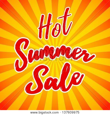 Vector hot summer sale banner. Clearance or closeout background. Seasonal sale template. Vector illustration.