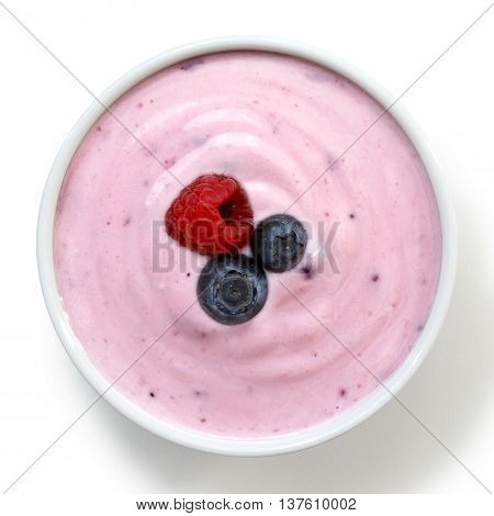 Ceramic Bowl Of Fruit Yoghurt With Berries From Above Isolated On White Background.