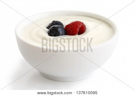 Ceramic Bowl Of White Yoghurt With Berries Isolated On White Background.