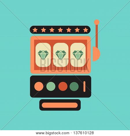 flat icon on stylish background slot machine