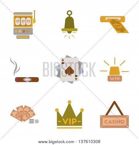 assembly of flat icons casino poker game