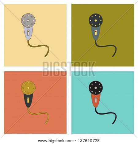 assembly of flat icons Kids toy microphone