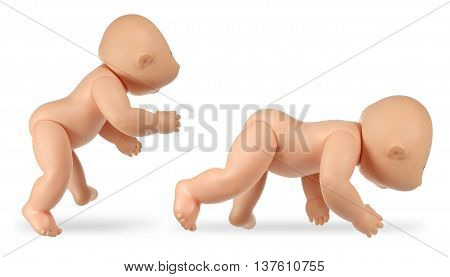 Plastic Baby Dolls on Isolated White Background