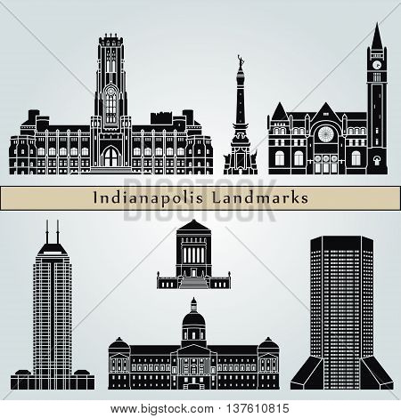 Indianapolis landmarks and monuments isolated on blue background in editable vector file
