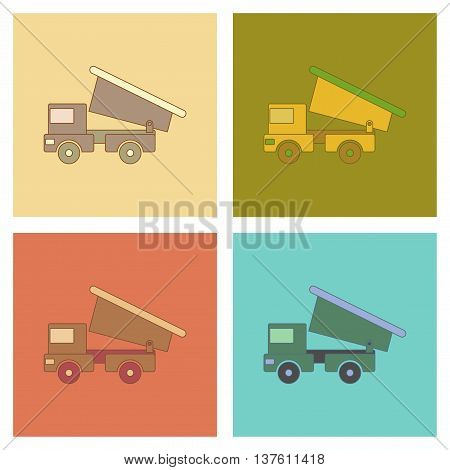 assembly of flat icons Kids toy truck, vector illustration