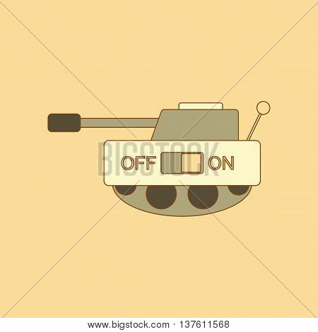 flat icon on stylish background Kids toy tank, vector illustration