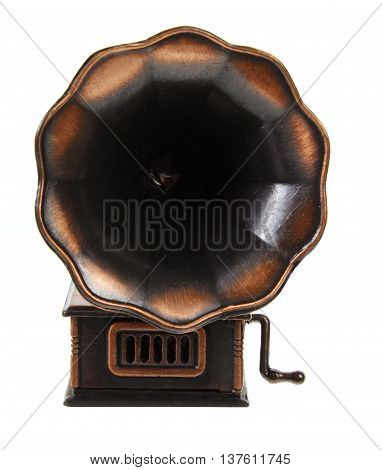 Old Fashioned Brass Gramophone on White Background