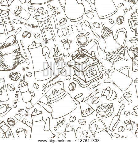 Coffee theme doodle seamless pattern.Hand drawn rough linear beans, lettering, tableware, various kinds of coffee ingredients, devices for coffee making. Vector background for cafe menu, wallpaper, backdrop