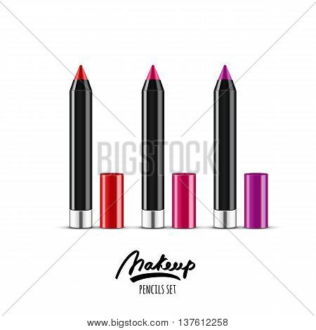 Vector Realistic Illustration Of Multicolor Cosmetics Pencils. Makeup Icons Set. Red And Pink Cosmet