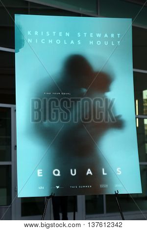 LOS ANGELES - JUL 7:  Equals Poster at the Equals LA Premiere at the ArcLight Hollywood on July 7, 2016 in Los Angeles, CA