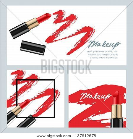 Set Of Vector Banners With Red Lipstick And Lipstick Smears Isol