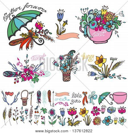 Doodle floral group set.Colored hand sketch vintage elements.Flowers, swirls, branches, umbrella, cap, bow and lettering .For card, invitation and logo.Cute nature Vector