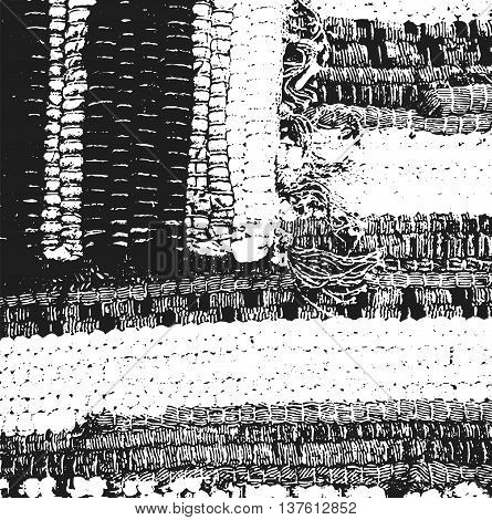 Distressed overlay texture of weaving gunny fabric. grunge background. abstract halftone vector illustration