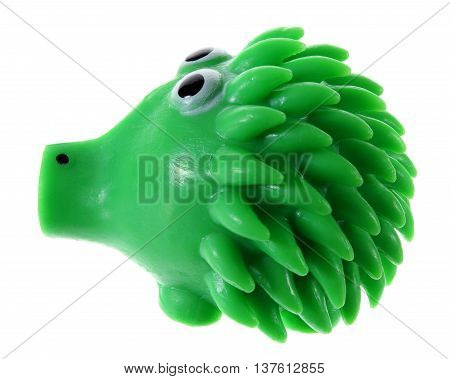 Toy Rubber Porcupine on Isolated White Background