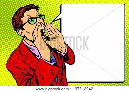 Pop art business man screaming. Pop art retro vector, realistic hand drawn illustration. Promo people