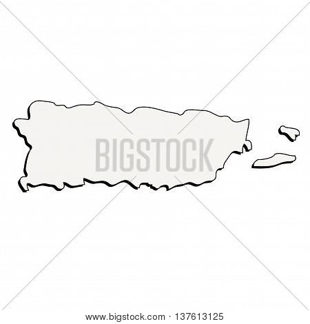 Puerto Rico 3D Outline Map Mercator Projection