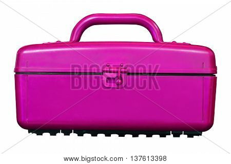 Isolated Vintage Pink Cooler Plastic Box On White