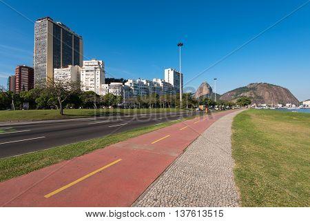 Bicycle Path in Botafogo in Rio de Janeiro, Brazil