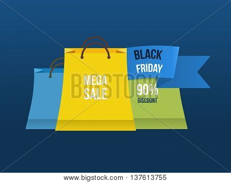 Sale bag labels. Mega discount with low prices promotion. Shopping advertisement poster. Vector illustration