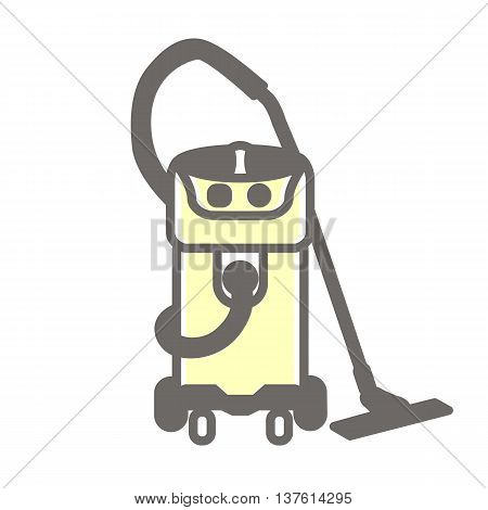 Vector colorful illustration of vacuum cleaner isolated on white background.