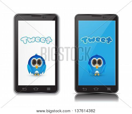 isolated cute blue bird inside smartphone illustration