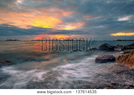 beautiful sea scape scenic of laem chabang important comercial shipping harbor in chonburi province eastern of thailand