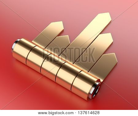 3d golden arrow stickers chart set with cylinder. Image on a red background.