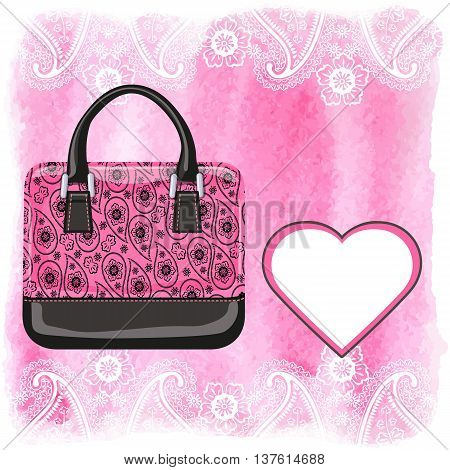 Fashion handbag with Paisley pattern and watercolor textured splash background, heart shape label.Artistic  Vector illustration.Gorgeous Composition in pink and black colors.Shopping Poster