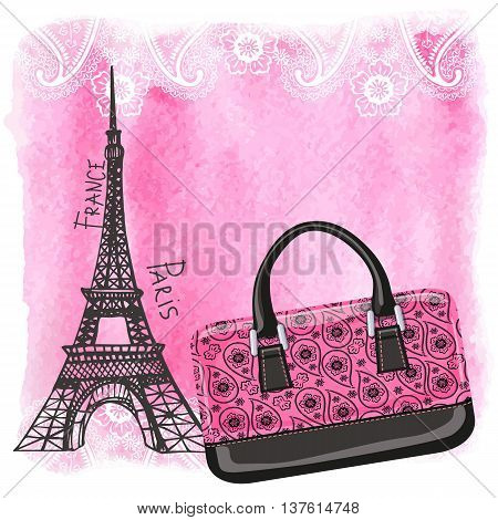 Fashion handbag with Eiffel Tower, Paris landmark. Paisley pattern and watercolor textured splash background.Artistic  Vector illustration.Gorgeous Composition in pink and black colors.Vertical Poster