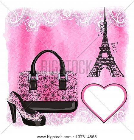 Fashion handbag, Shoe with Eiffel Tower, heart label.Paisley pattern and watercolor textured splash background.Artistic Vector illustration.Gorgeous Composition in pink and black colors.Poster