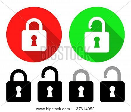 Open And Close Padlocks. Open And Close Padlocks. Vector Illustration Of Open And Close Padlocks With Their Variations