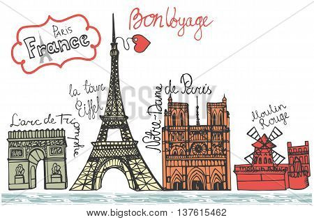 Set of Paris Night landmark  panorama.Hand drawn colored doodle sketchy .French style, words.Notre Dame, arc de Triomphe, Eiffel tower, Moulin Rouge.Horizontal Vector illustration
