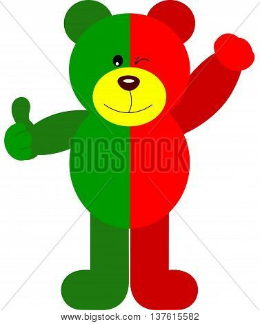 Scalable vectorial image representing a teddy bear soccer Portugal flag, isolated on white.