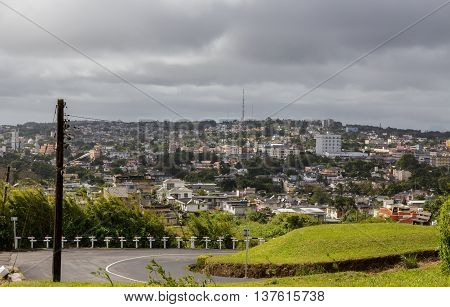 View On Curepipe From Trou Aux Cerfs In Mauritius