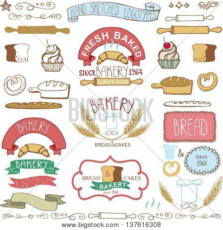Vintage Retro Bakery Badges, Labels and logos.Colored hand sketched doodles and design elements. Bread, loaf, wheat ear, cake icons, border and ribbon. Easy to make logo.Vector