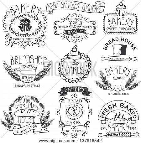 Vintage Retro Bakery Badges, Labels, logos.Outline hand sketched doodles and design elements.Bread, loaf, wheat ear, cake icons. Vector