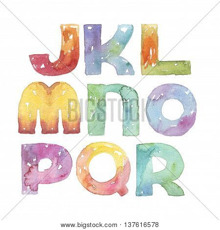 Large raster illustration with watercolor letters sequence from J to R. Alphabet vivid colored grainy with splashes and imperfections isolated on white background. Hand drawn abc letters