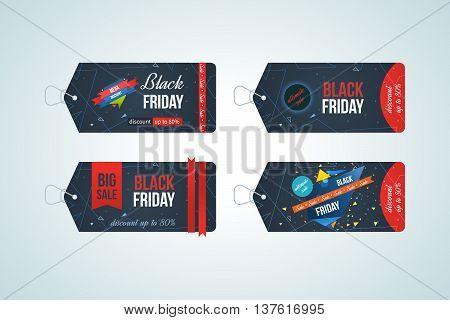 Black friday sale banner design set. Black friday design, sale, discount, advertising, marketing price tag.