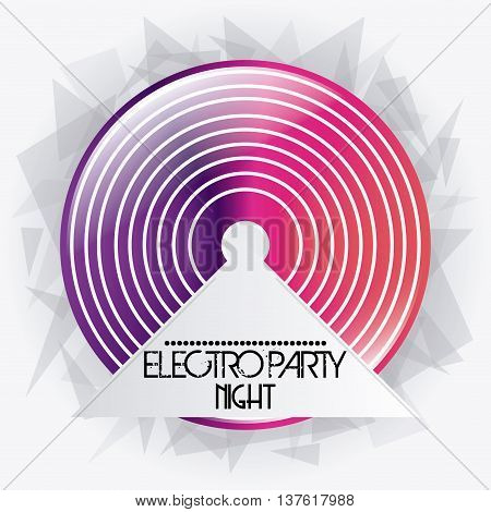 Electro and Dance Party represented by pink and purple vinyl icon over polygonal background. Colorfull and Flat illustration
